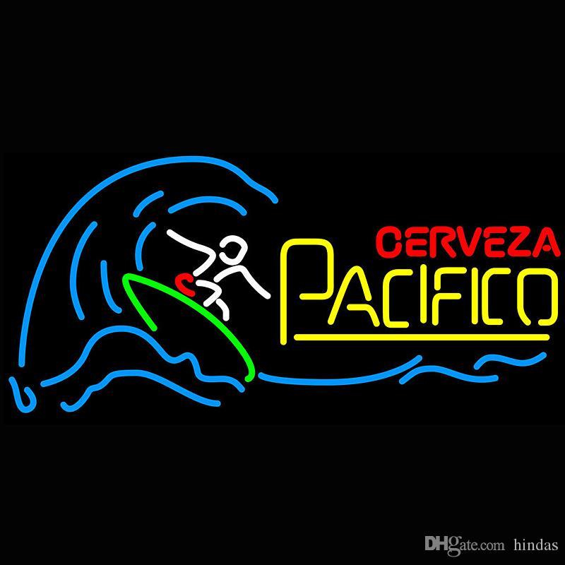 Cerveza Pacifico Surfer Wave Neon Sign Light Sign Bar open Dropshipping Decor Shop Crafts Led