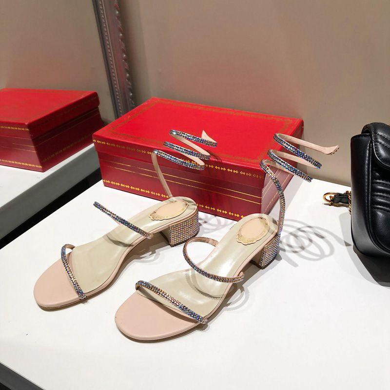 Moda sıcak cleo rainbow sandal Kristal Serpantin Sexy strass 40 Yüksek Topuk Parti Kadın rc Sandalet Açık Toe sarma