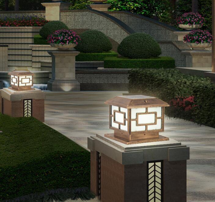 Outdoor Solar Jardim Cerca Pillar Lamp Villa Waterproof Estacionamento Pátio Portão Coluna Luz Piscina Street Cartão Cap Lamp