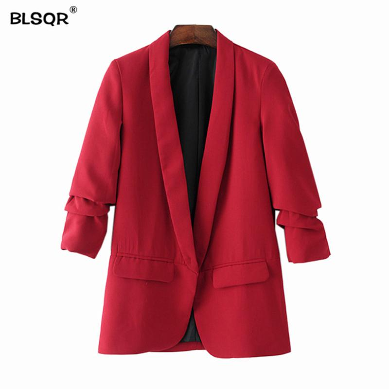 BLSQR Red Chiffon Formal Blazer Women's Business Suit Slim Long-Sleeve Jacket Suits Office Suit For Women Clothes Y190830