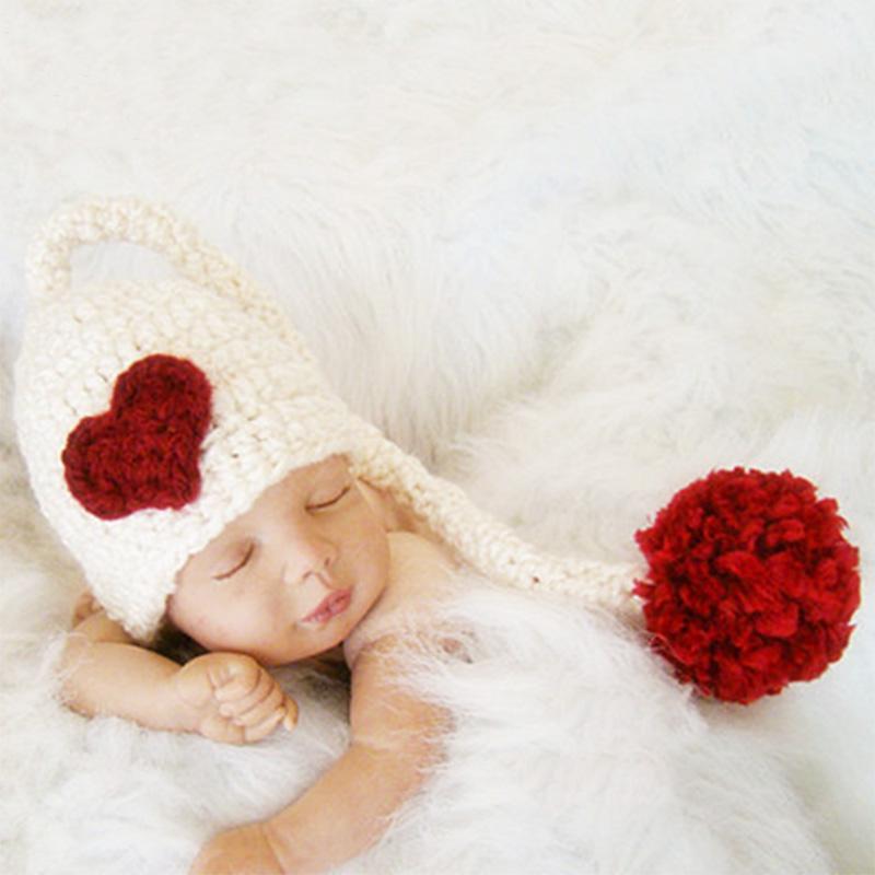 طفل بوم بوم قبعة التصوير الفوتوغرافي حديثي الولادة الدعائم قبعة الكروشيه مع ذيل طويل الاكسسوارات طفل بوم بوم قبعة الرضع استوديو التصوير FOTOGRAFIA