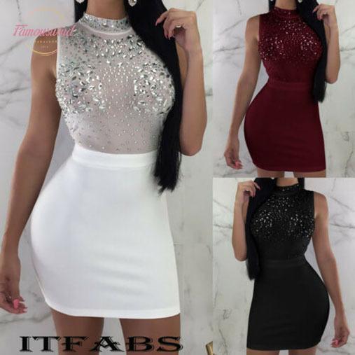 2020 Women Sexy Dresses Bodycon Sleeveless Evening Party Club Wear Short Casual Mini Dress Drop Shipping