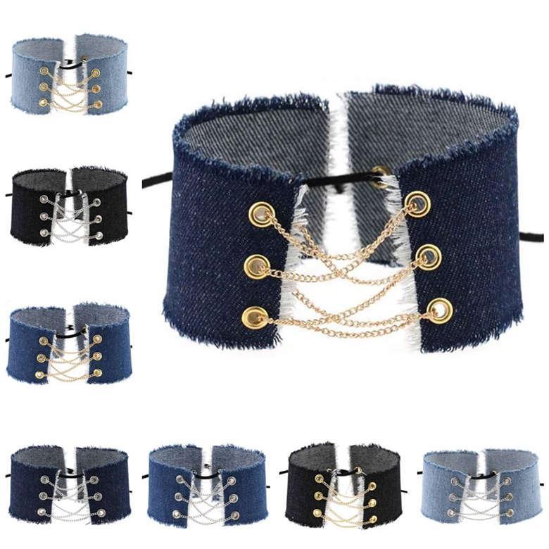 Personalizado Edge Raw Edging Punk Denim Collar Cadena Cuello Collar Collar DJN233 Pedido Mezcla Chokers Joyería
