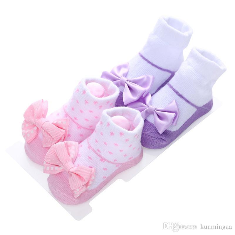 Calcetines recién nacidos Encaje Flor Bowknot Princesa Baby Girl Calcetines 0-12 Meses Calcetines de bebé Sokken Girls Sock