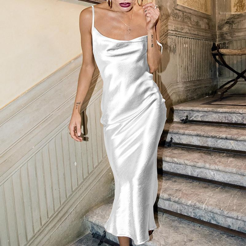 مصمم فستان ذيل السمكة عارضة الإناث الملابس الصلبة لون إمرأة فساتين عادية مثير السباغيتي الشريط عارية الذراعين النسائية