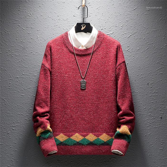 Otoño del resorte de la tripulación Casual cuello jersey de manga larga para hombre de los suéteres flojos calientes Ropa para hombre Los hombres suéteres de diseño