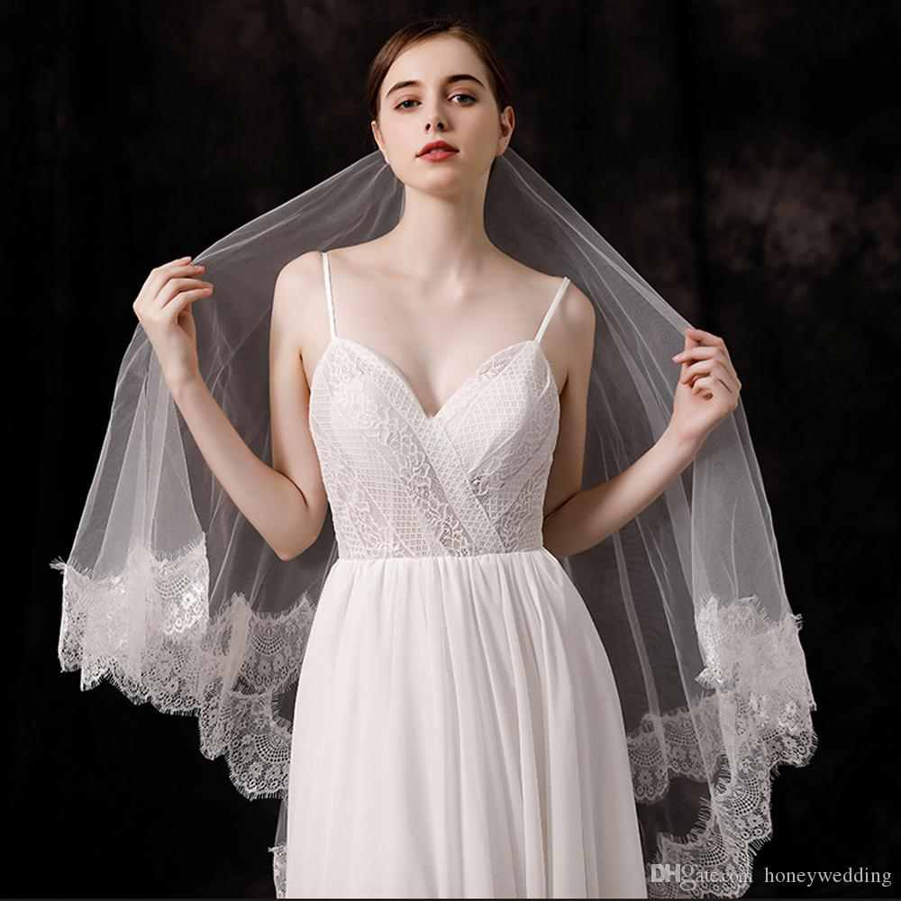 2T White/Ivory Wedding Veil Lace Hem Bridal Veils New Wedding Accessories With Comb Elegant Bride Veil