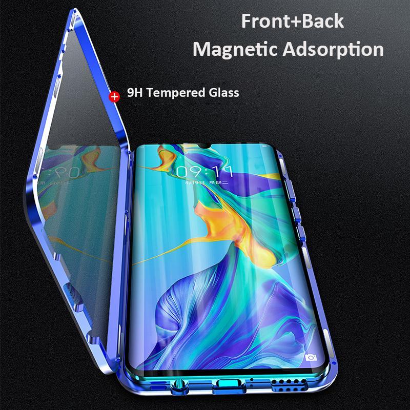 360 전체 자기 양면 유리 금속 범퍼 전화 케이스 화웨이 명예 P30 프로 메이트 20 X P20 노바 5 참고 10 9X 20 8X 커버