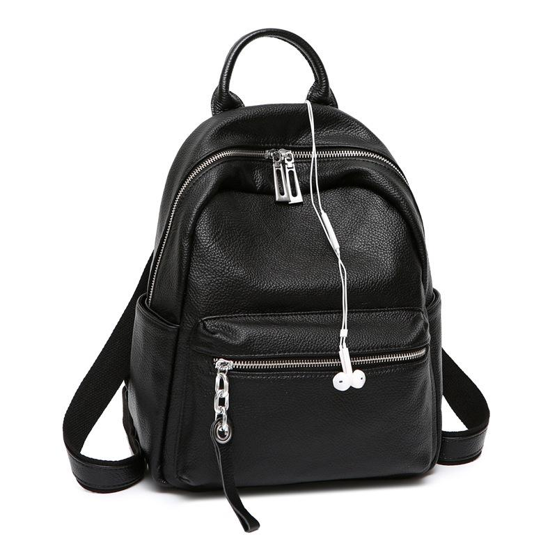 2020 Fashion Cool Backpack School Backpack for Teenage Girl Earphone Genuine Leather Women Bagpack Black Small Back Pack