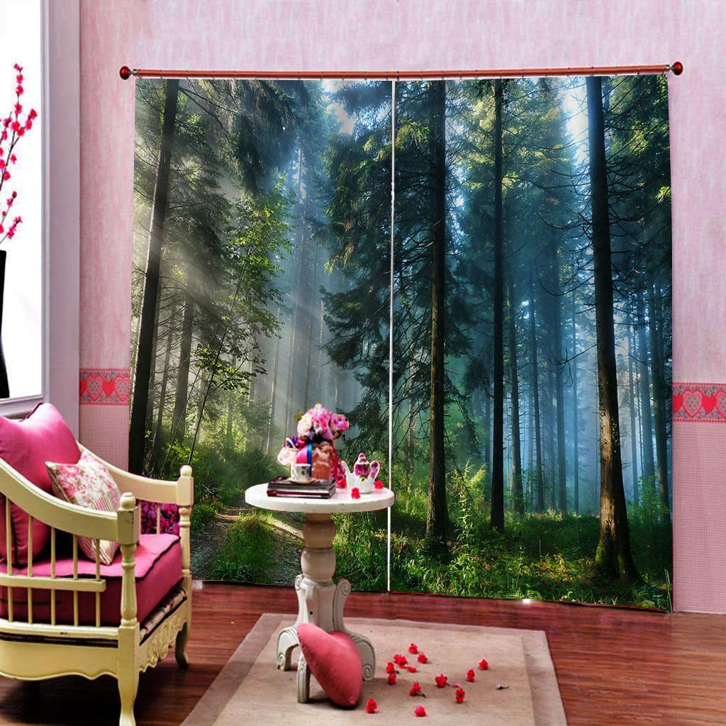Personalizado escenario natural Foto cortinas para el dormitorio sala de estar del paisaje forestal con climatizador, Decoración conjuntos personalizados de cualquier tamaño