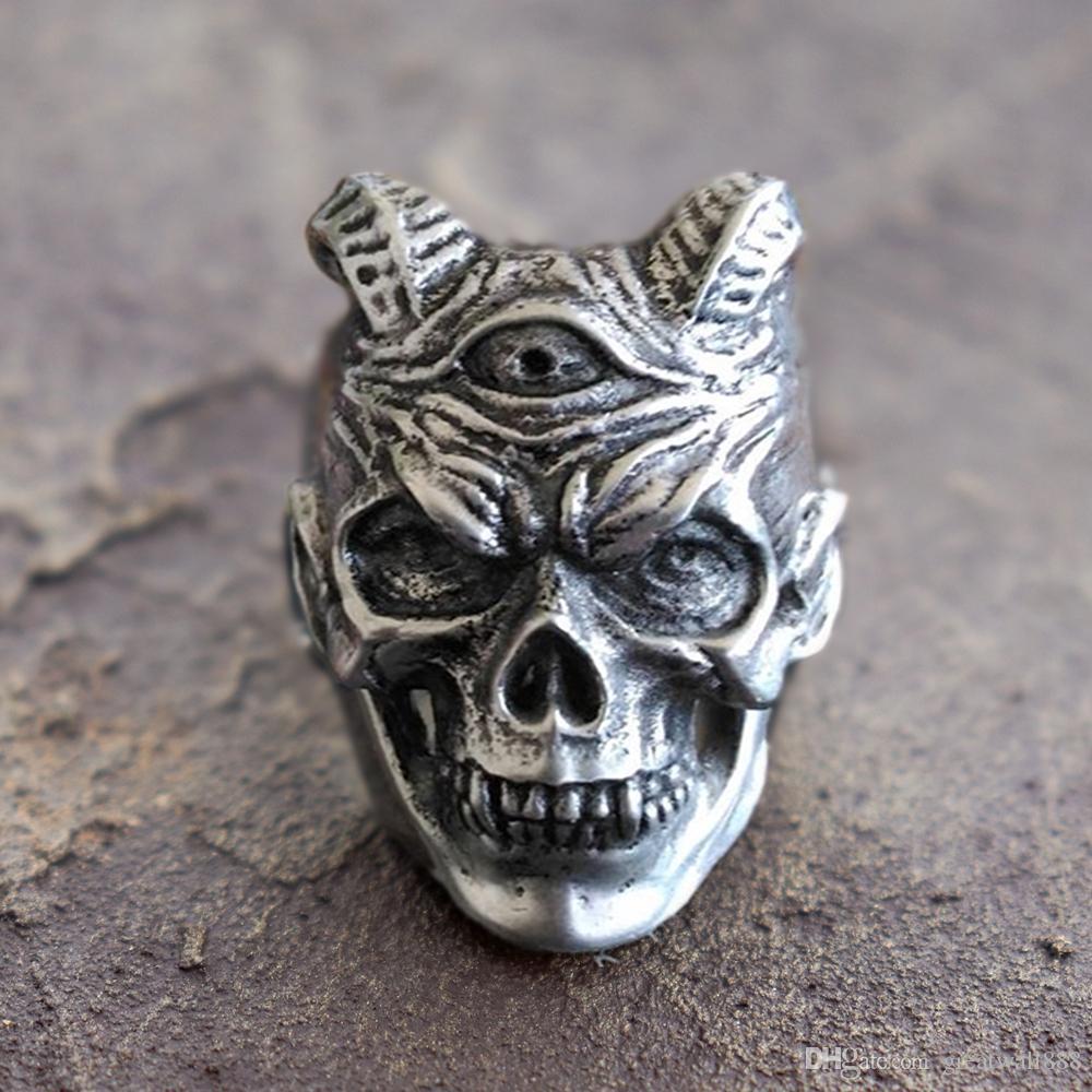 Чума Дьявол череп кольца мужские Трехглазый Демон 316L кольцо из нержавеющей стали панк-рок байкер ювелирные изделия