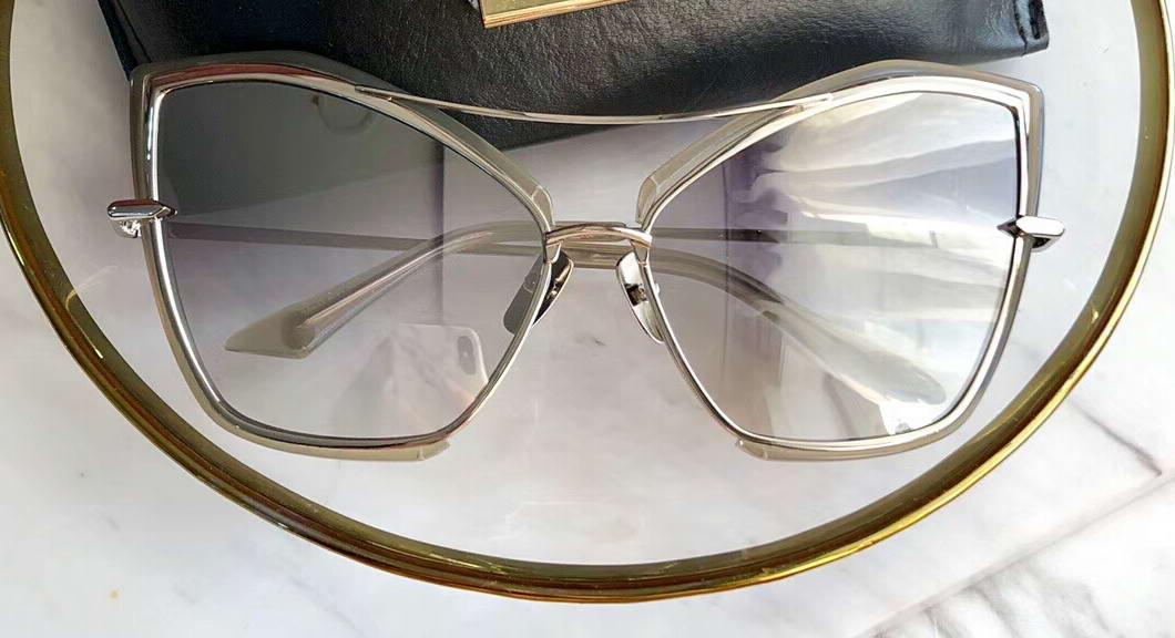 Donne dell'occhio di gatto grigio oro degli occhiali da sole d'argento 22035 Sonnenbrille Cateye Sunglasses UV400 Lenti nuovo con la scatola