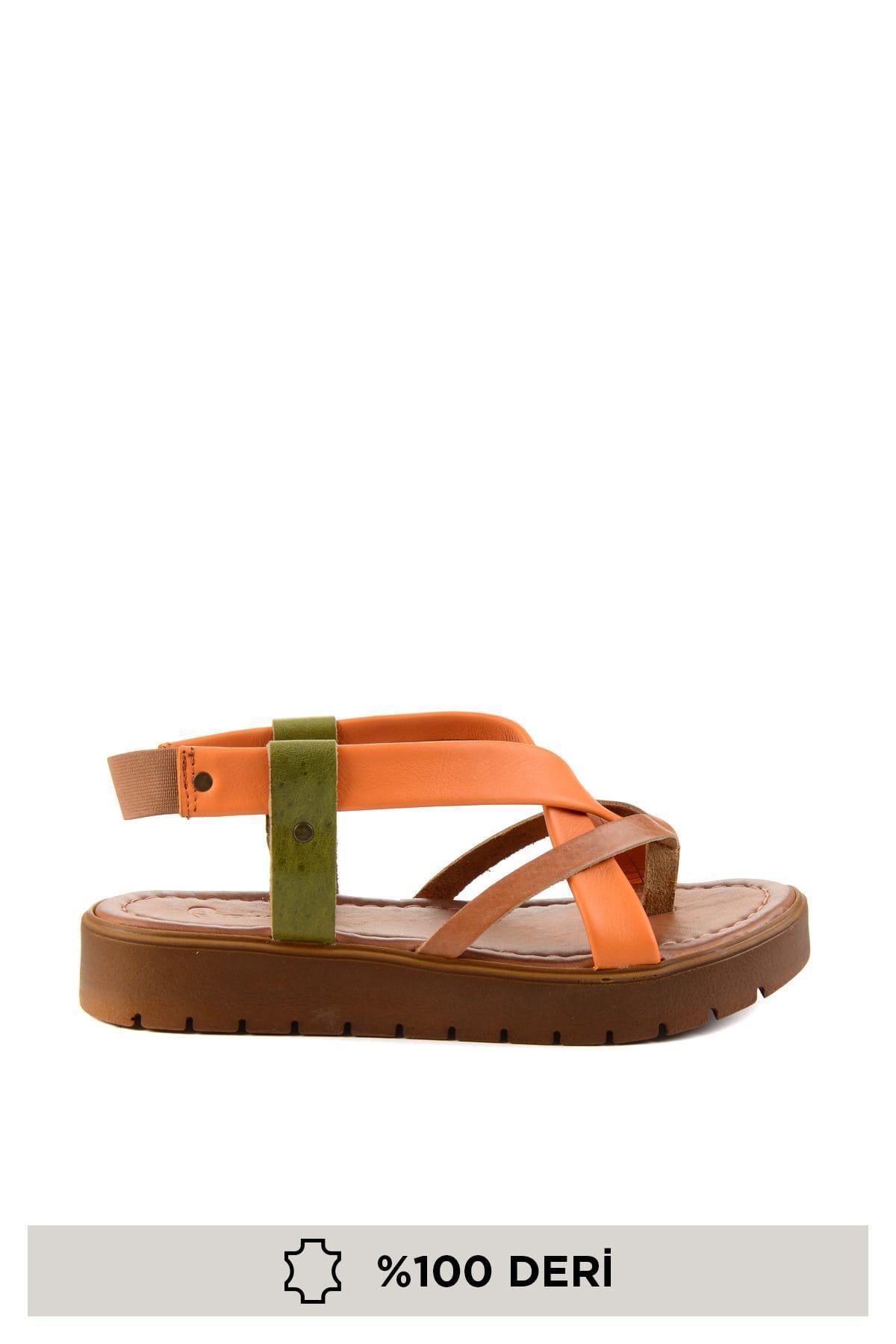 Tan Bambi cuero auténtico Naranja mujeres 'S sandalias H06840960