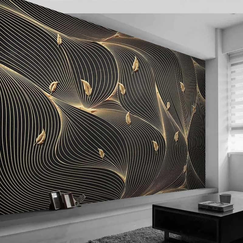3D encargo de la foto del papel pintado de lujo del fondo Líneas abstractas geométrica de la hoja de oro Mural Sala de estar Sofá TV de papel Inicio decoración de la pared