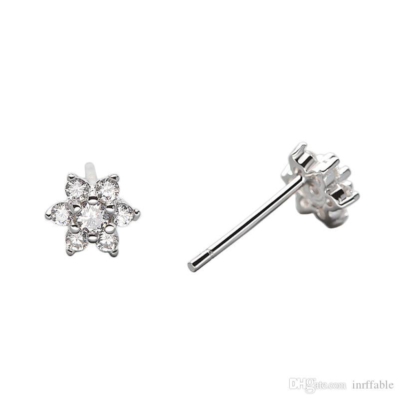 Classic Corea Blossoms fiore delle donne Stud Earrrings 925 Orecchini Cancella Cubic Zirconia nozze orecchini di cristallo