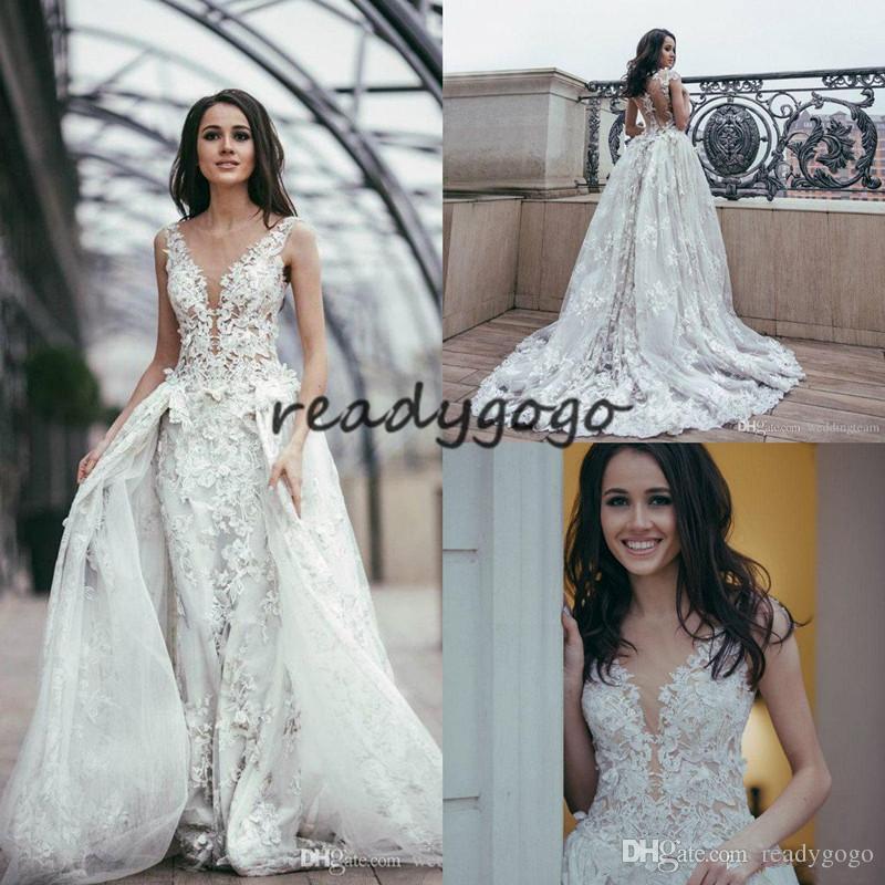 Luxury Mermaid Wedding Dresses With Detachable Skirt 3D Floral Appliques Sheer Jewel Neck Robe De Mariée Plus Size Wedding Dress Bride