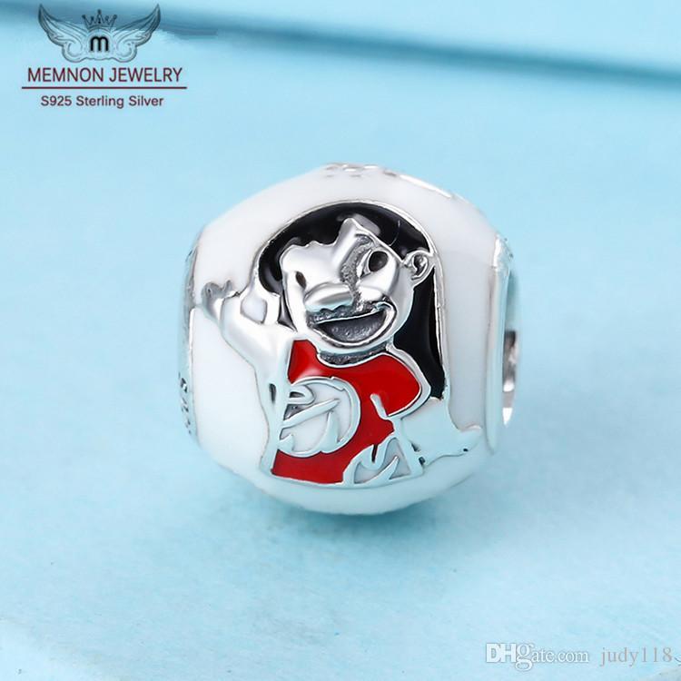 100% 925 Lilo Stitch fascino branelli di fascini dello smalto misto d'argento europea adatta Pandora di stile della collana dei braccialetti gioielli fai da 796338ENMX