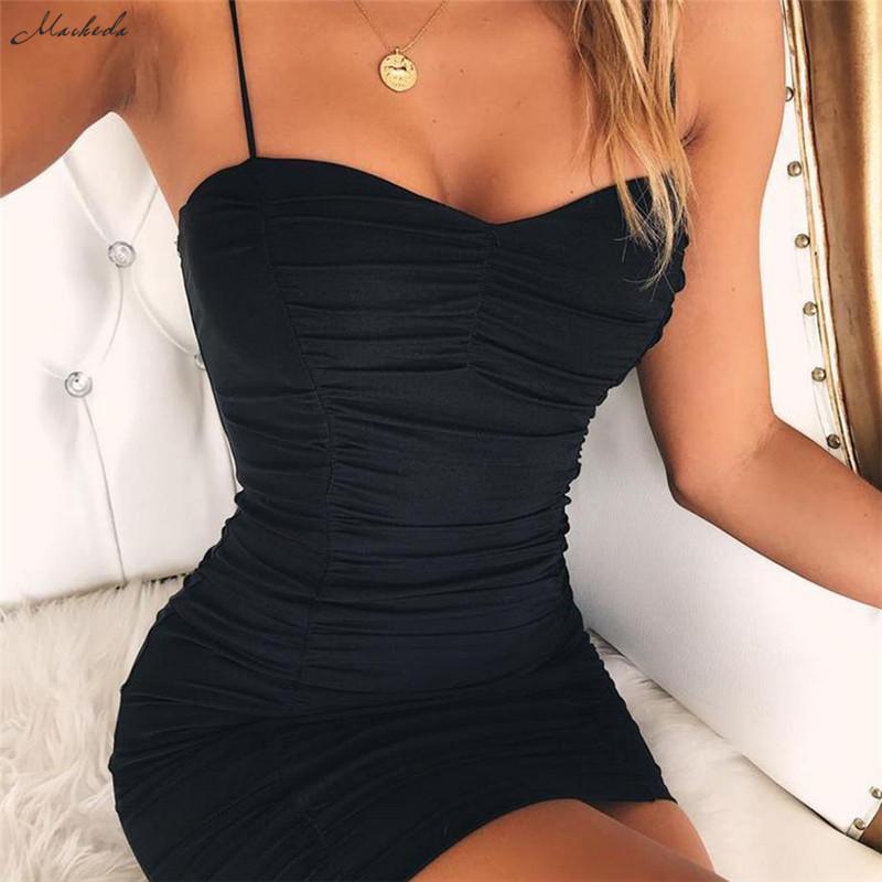 Macheda sexy Bodycon del vestito dalla fasciatura delle donne dalla cinghia di spaghetti nero guaina mini partito casuale Halter Abiti 2018 Nuovo Y200101