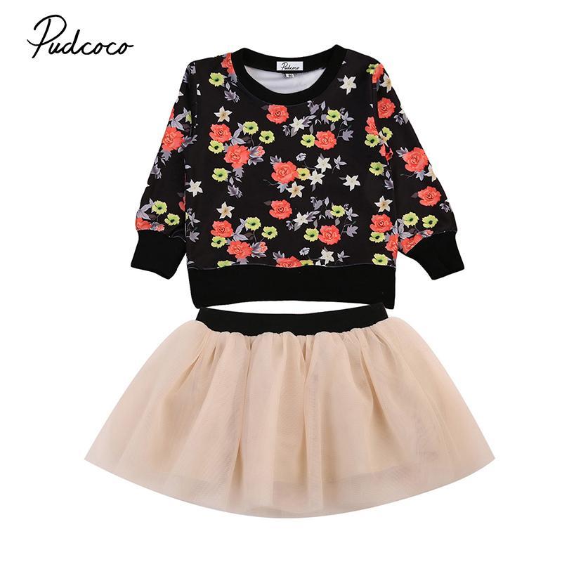 2019 Vêtements Fille Toddler Enfants Automne manches longues Tops Pull floral + Tutu Mesh Jupe 2PCS Tenues enfants Set Vêtements