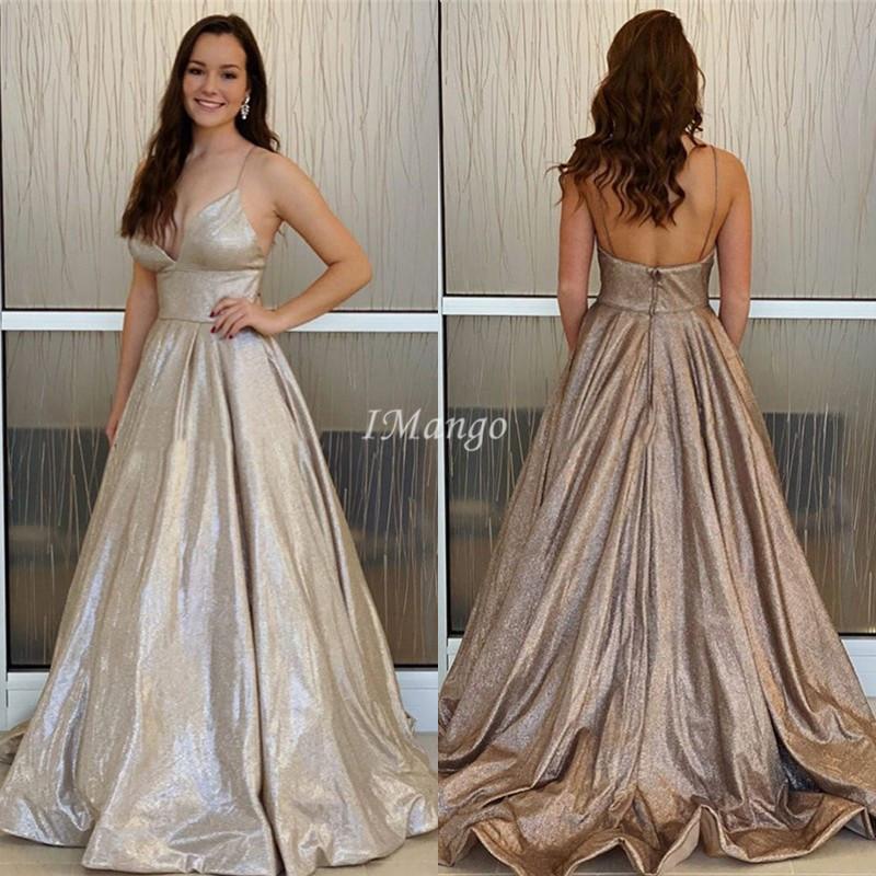 Robe De Soriee Glitter 2020 Vestidos Spaghetti Zipper Voltar A-Line brilhante Prom celebridade Vestidos