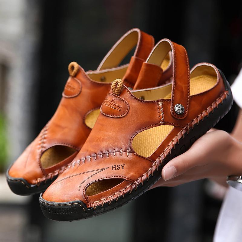 Sandalen Hombre Männer Sandalen Sommer-Kuh-echte Leder-Sandalen Männlich Schuhe weiches Außenbeachtennis Masculino Erwachsener plus Größe 48