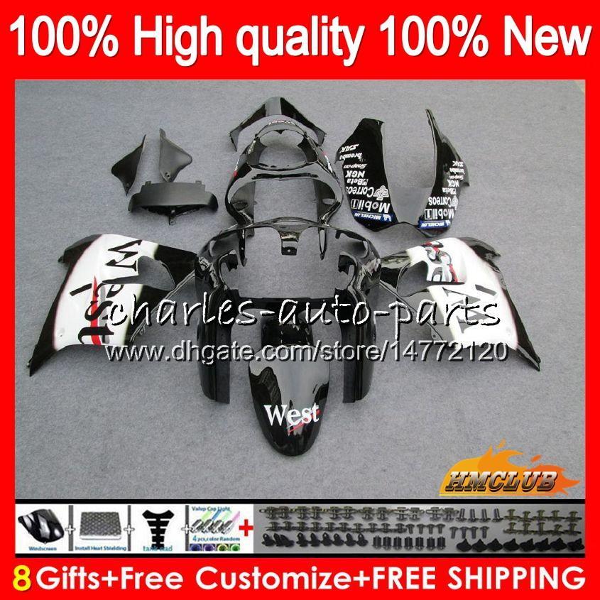 Pour le corps KAWASAKI ZX900CC noir ouest ZX900 ZX9 R ZX9R 00 01 02 03 56HC.19 ZX 9R 9 900 R 900cc ZX9R 2000 2001 2002 2003 Kit complet carénages
