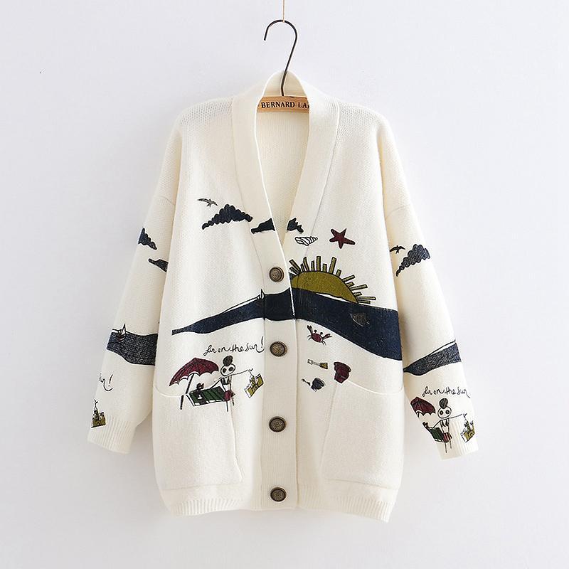 YoYiKamomo Mulher Primavera Sweater Knitting 2019 New japonês Mori menina V-neck Jacquard Cardigan camisola do inverno MX191101