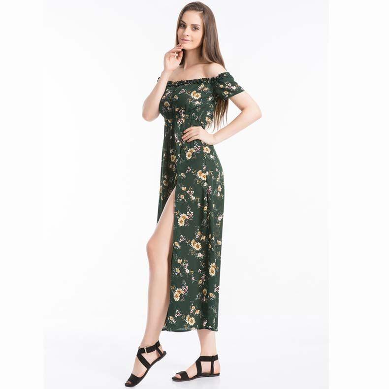 Sıcak Moda Yaz Sıcak Seksi Kadınlar Tankı şifon Sahil Elbise Kolsuz Sundress Çiçek uzun Elbiseler Yeni Geliş