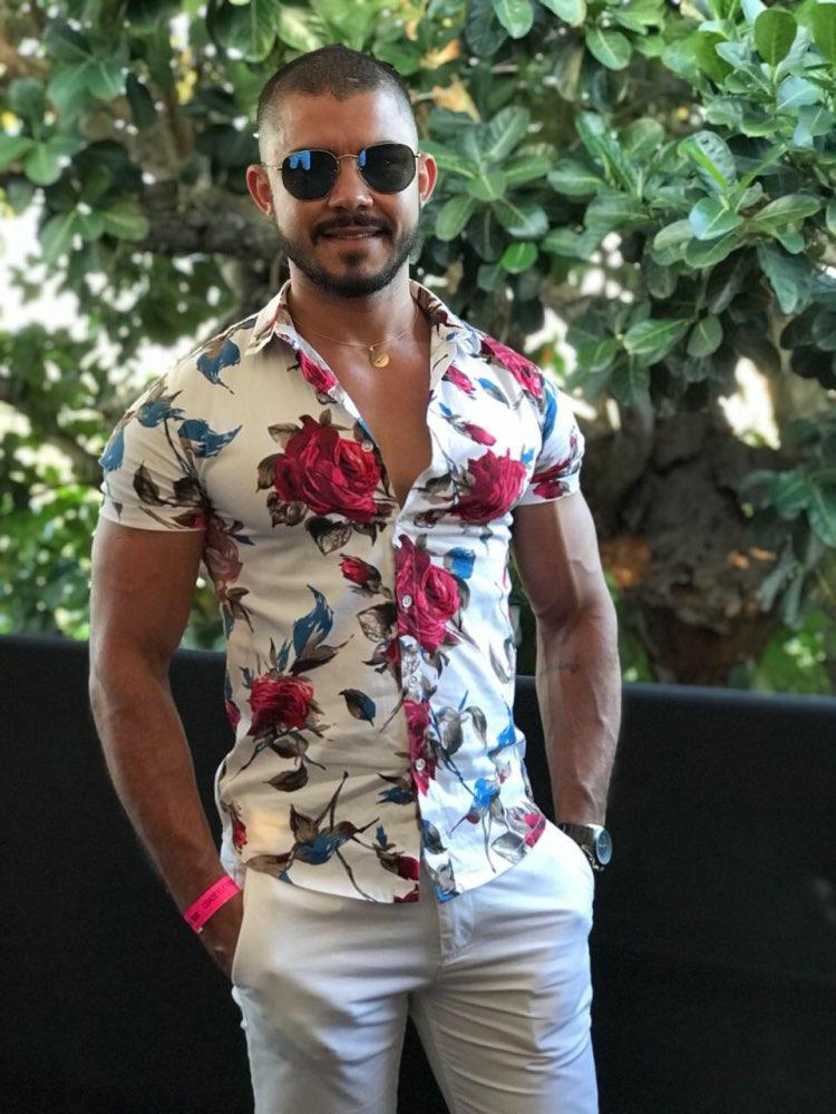 Quality Shirt Men Summer Short Sleeve Fashion Men Floral Shirts Slim Fit Plus Size Business Social Shirts Mens 7xl -M Turn-down Collar