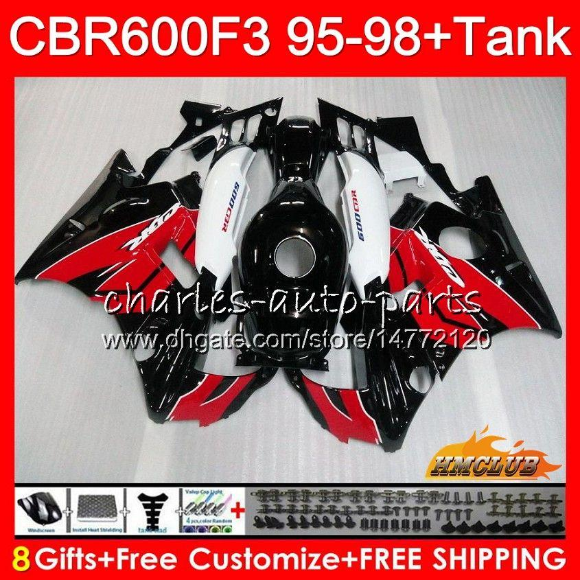 Ciało + czołg dla Honda CBR 600F3 600CC CBR600 F3 95 96 97 98 41HC.3 CBR 600 FS F3 CBR600FS CBR600F3 Czerwony Czarny Hot 1995 1996 1997 1998 Owalnia