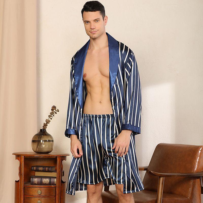 Dormire da uomo Mens Seta Satinata Pigiama 2 Pezzi A maniche lunghe Robe uomo Camicia da notte Drowes Plus Size Blue Striped Accappatoio Pajamas M-5XL