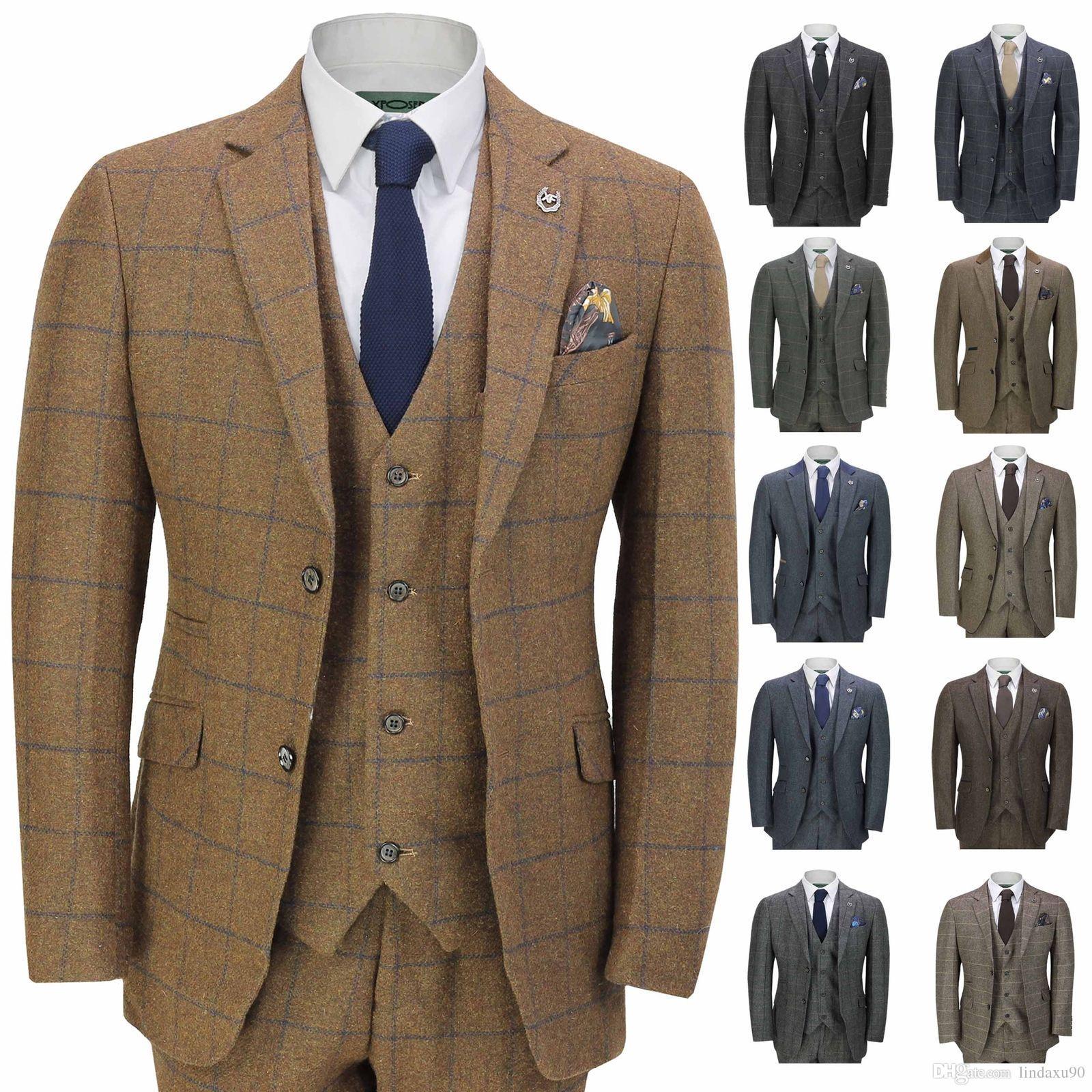 Xposed Mens Classic Tweed 3 Piece Suit Tan Brown Herringbone Navy Check Retro Peaky Blinders Tailored Fit