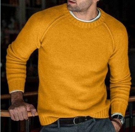 Neue Art und Weise Wollpullover Herren Herbst Winter gestrickte Pullover Männer Solide Slim Fit Rundhals Pullover Tops