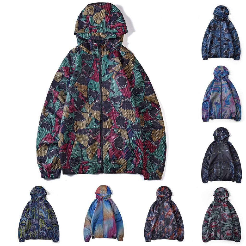 Hommes Facny Imprimer Camouflage Veste à capuche 2020 New automne imprimé papillons Vêtements capuche coupe-vent Homme Manteau Homme Outwear