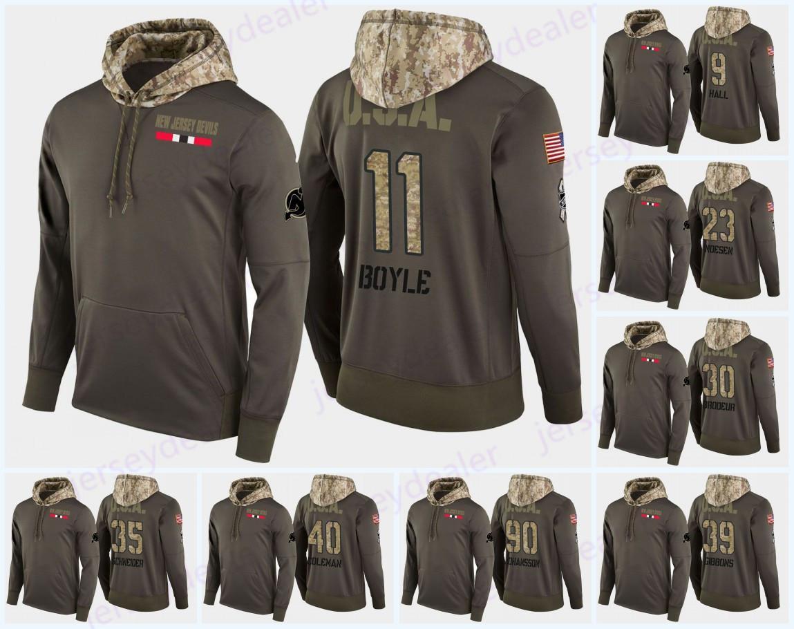 76 P. K. Subban para hombre New Jersey Devils Military Camo Hood USA Flag Hoodie Jerseys 11 Brian Boyle 19 Travis Zajac Sudaderas con capucha Sudaderas
