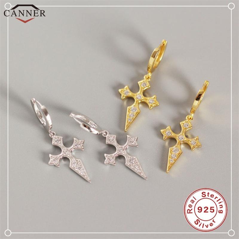 Каннер 925 стерлингового серебра обруч серьги для женщин цвета золота Малый круг серьги 2020 Крест Панк ювелирные подарки H40