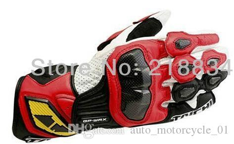 Wholesale- Hot sales Newest Free Shipping racing motorcycle Genuine leather gloves carbon sport of motorcycle racing gloves