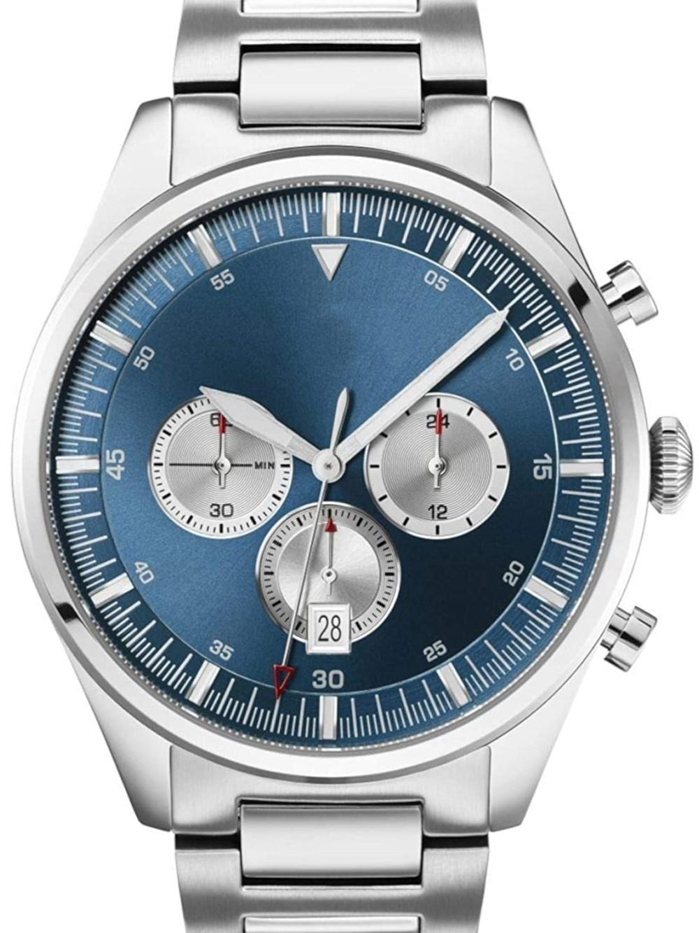 2019 Мужские кварцевые часы хронограф дисплей и нержавеющая сталь Ремешок 1513713