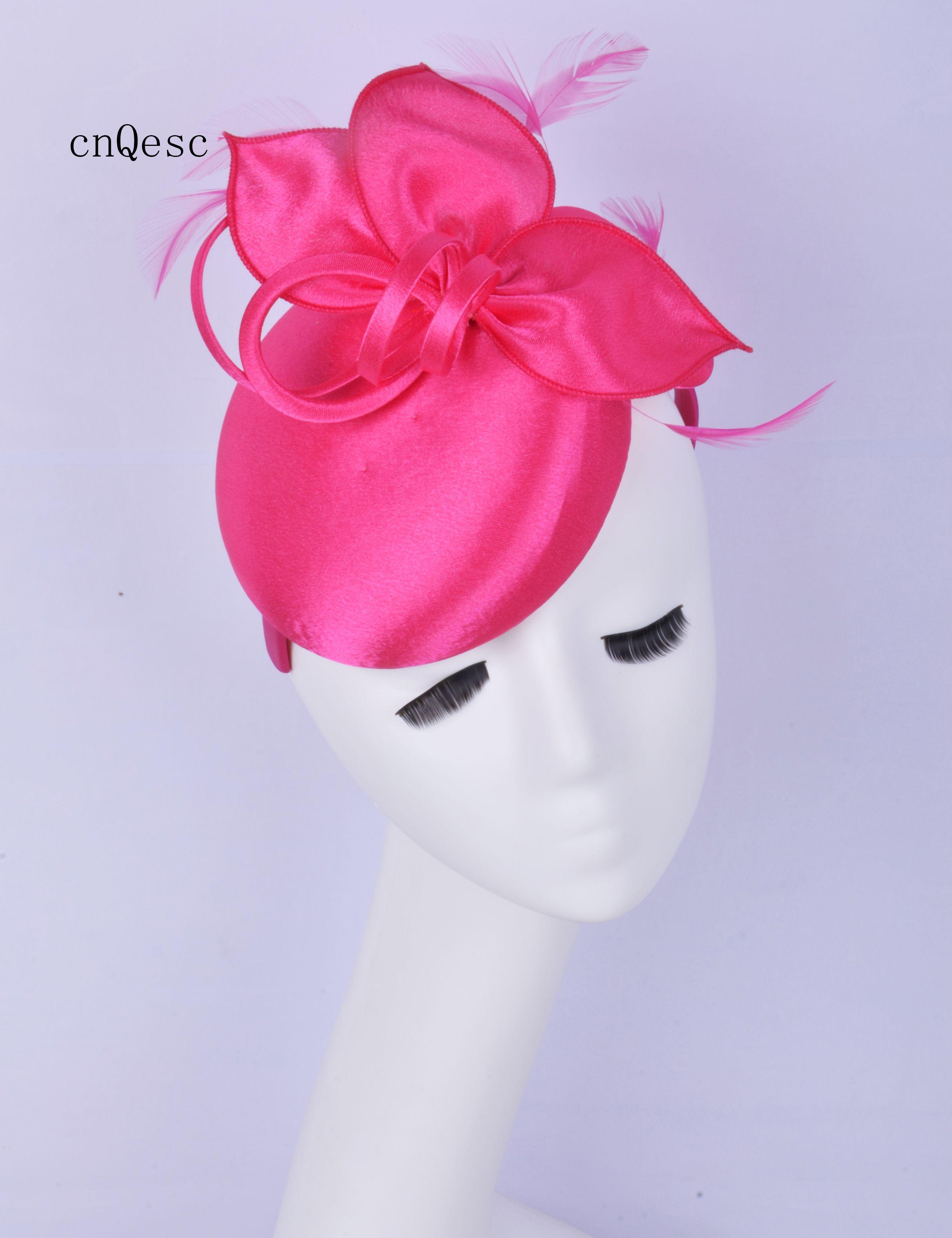 2019 Cappello da cerimonia per signora piccolo abito da cerimonia in raso rosa caldo per cappello da sposa per la doccia da sposa madre della sposa con piume.