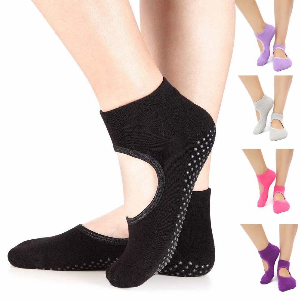 Women Non-slip Grip Fitness Ballet Dance Pilates Socks Indoor Gym Yoga Shoes UK