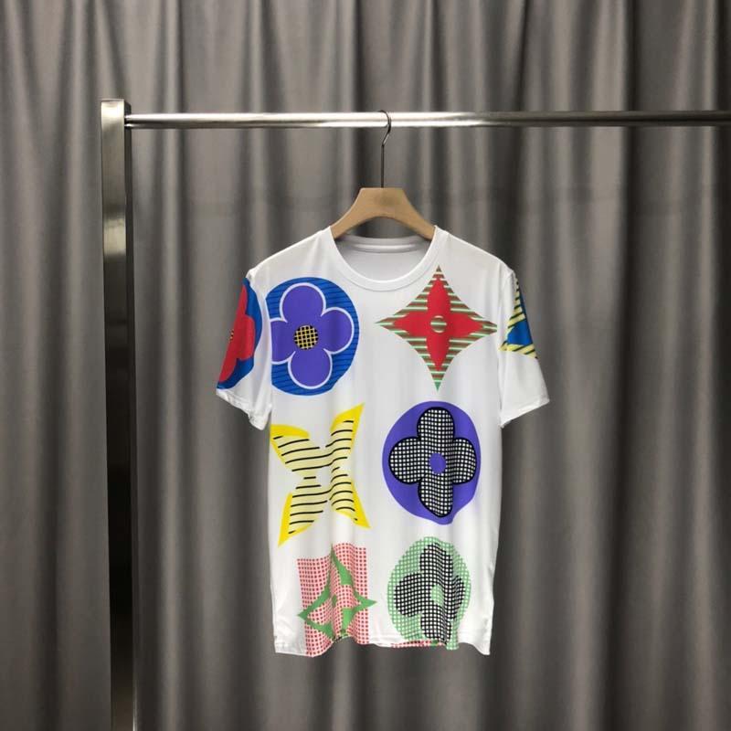 2020ss primavera e algodão novo alto grau de verão impressão de manga curta rodada painel pescoço t-shirt Tamanho: m-l-xl-XXL-XXXL Cor: ook1 preto branco