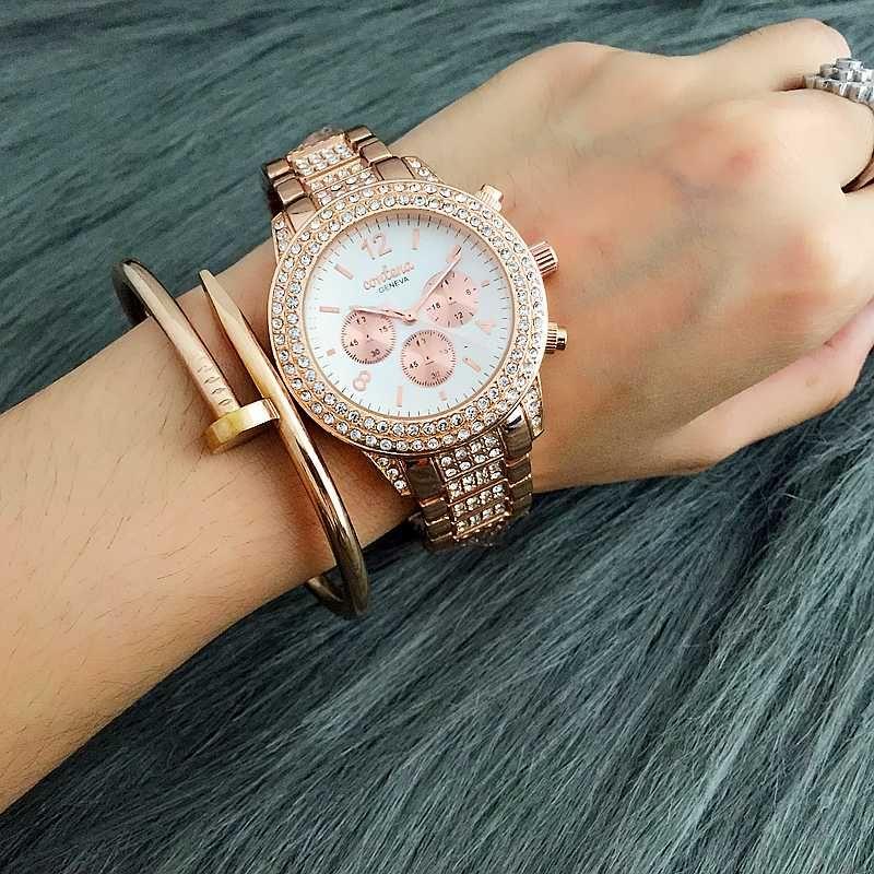 Contena Brand Watch Women Watches Alloy Steel Fashion Diamond Watches Unique ladies Quartz Wristwatches