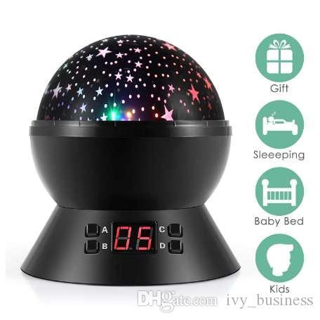 Sart Projector lua lâmpada Night Light LED USB horímetro 4 botões de 360 graus grau dom 3 Brilho regulável para crianças de sono
