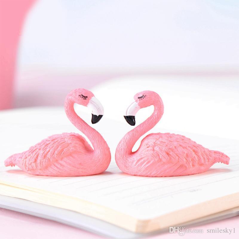 Miniatura del flamenco Figura Animal Bird Juguetes Figuras miniatura de juguete de PVC Hada del jardín Decoración Adornos Cake Toppers Rosa 3.3 * 4.6cm