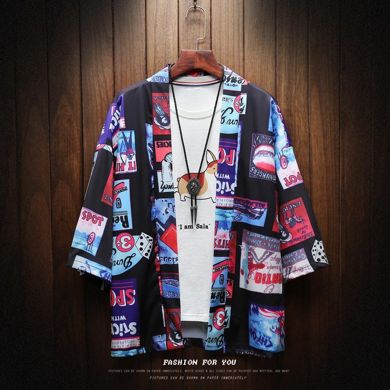 Японский Streetwear с коротким рукавом рубашки Мужчины хип-хоп Ukiyoe Повседневная рубашка 2018. Человек Летняя мода Мягкие гавайские рубашки Y200104