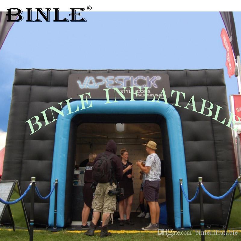 Olay parti kullanım için kapılar şişme çadır ile Taşınabilir dev açık siyah şişme küp çadır