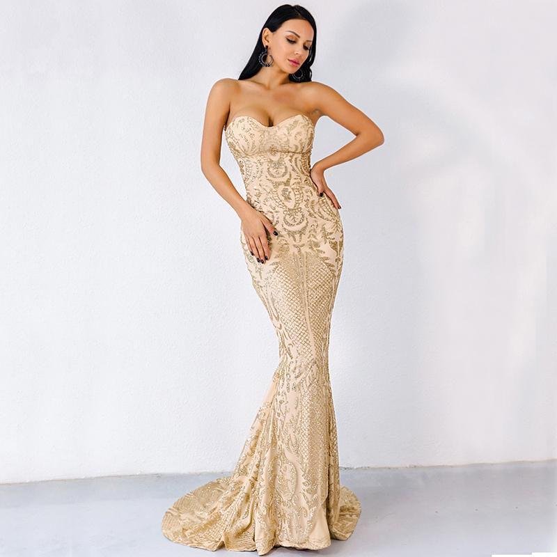 Sexy sleeveless evening dress mermaid skinny sequins lace heart-shaped collar floor length formal dress strapless women's dress