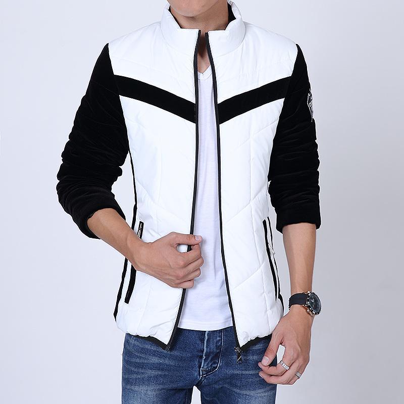 Kış Moda Marka Casual Erkekler Kalın Aşağı Ceket Palto Kontrast Renk Açık Mont Sıcak Giyim Ceket Giymek