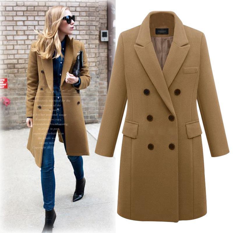 بدوره أنيق أسفل الياقة دافئ شتاء الصوف الأخلاط أنثى الأسود جيوب معطف طويل المرأة عادية الخريف معطف ملابس خارجية