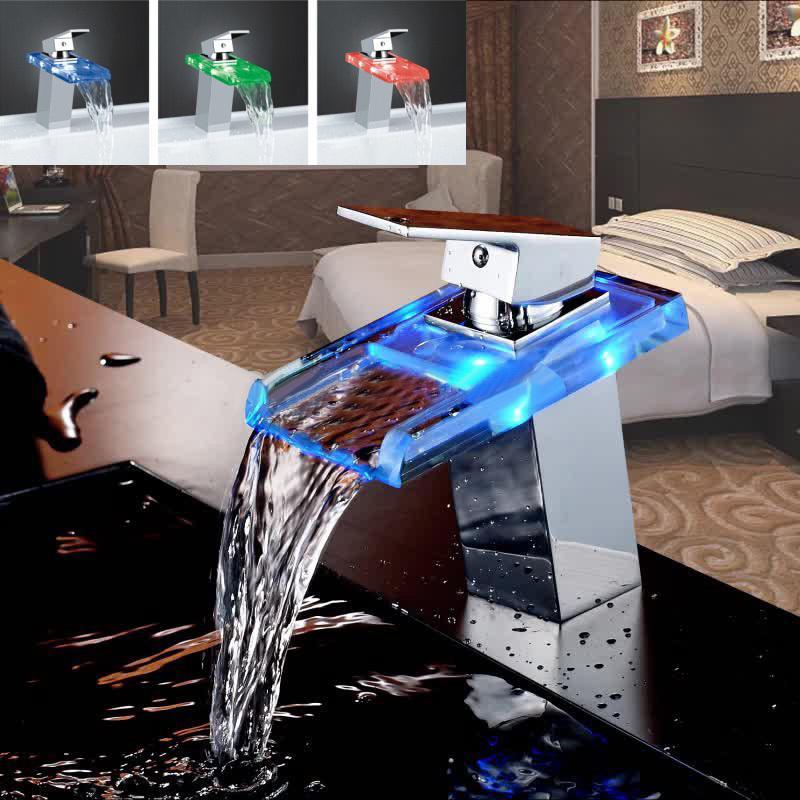 LED اللون التغييرات الزجاج الشلال حوض صنبور الحمام حوض استحمام بالوعة خلاط صنبور واحدة مقبض مطبخ صنبور المياه لمسات من الكروم T200107